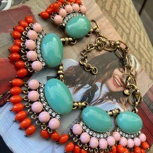 ❤️JCrew Aqua Cabochan Fan Multicolor Necklace